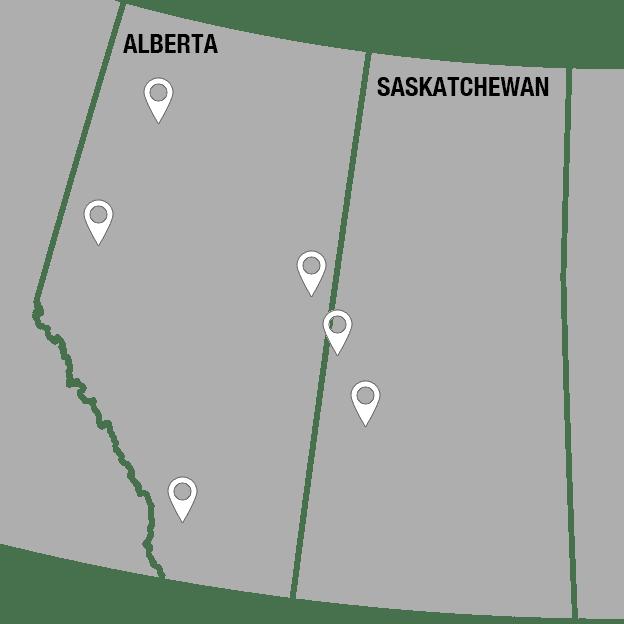 Alberta and Saskatchewan Map